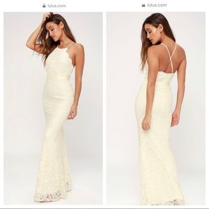 NWT: Lulu's Zenith Cream Lace Maxi Dress